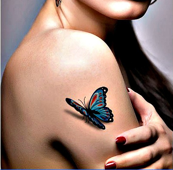 3d colorful butterfly temporary tattoo skin art 2 piece set for Wash off temporary tattoos