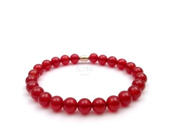 Carnelian bracelet, elastic man bracelet in red cornelian, made in Italy.