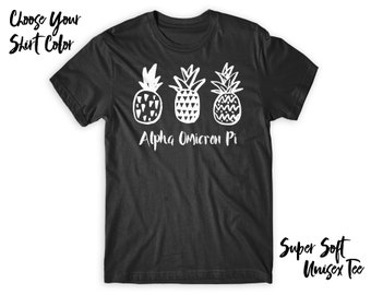 AOII Alpha Omicron Pi Pineapple Trio Choose Your TShirt Color!