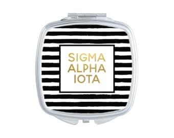SAI Sigma Alpha Iota Striped Pocket Mirror Sorority Compact