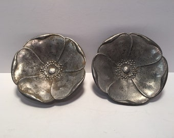 Vintage pair of E Dragsted Denmark flower nut dishes