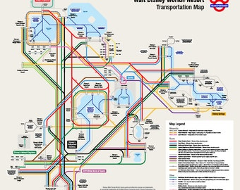 Walt Disney World Transportation Map in Metro Style