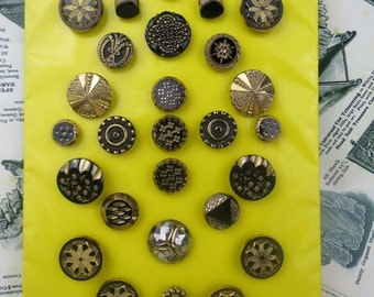 Lovely Collection 31 Antique Black & Gold Glass Buttons