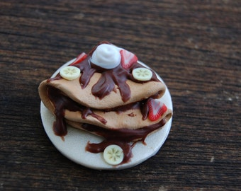 Handmade Polymer Clay Nutella Crepes Magnet