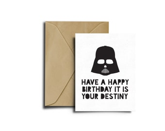 Star Wars Bithday, Darth Vader Card, Star Wars Birthday Card, Birthday Card, Star Wars Party, Happy Birthday, Darth Vader Birthday, Print