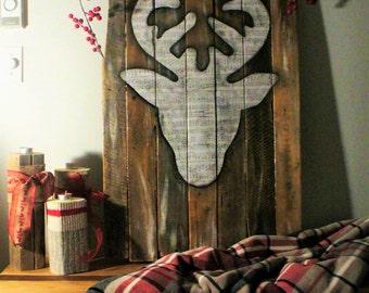 Head of a stag (deer) rustic - Rustic sign