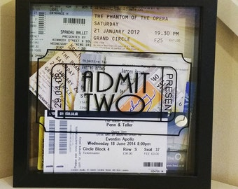 Memory box frame - Ideal to store concert tickets, lovely as a gift-drop slot option now available