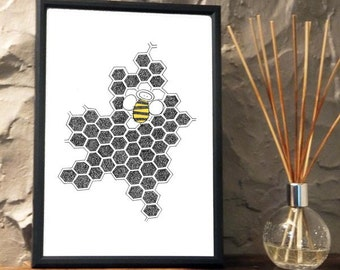 Quirky Honey Bee Print from an original art Illustration ART07P