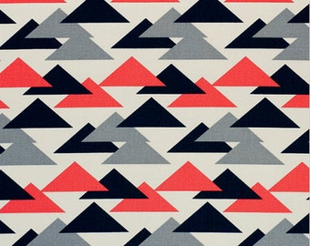 Premier Prints Jacklyn Fabric- Salmon / Charcoal - Canvas - sold by the 1/2 yard
