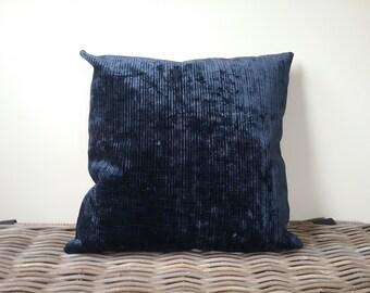 Navy blue velvet pillow - washed blue velvet pillow cover - blue velvet cushion