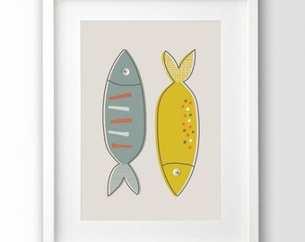 Fish Illustration, Kitchen Decor, Kitchen Print, Modern Wall Art, Printable Artwork,