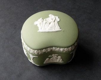 Wedgwood Sage Green Jasperware Kidney Trinket Box