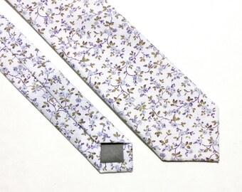 Lavender and Olive Tie - Men's Skinny Tie - Women's Vintage Tie - Purple and White Cotton Skinny Tie - Wedding Tie