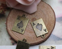 10Pcs 20*12mm Ace of Spades Charms Antique Bronze Tone 2 Sided--p1364-A