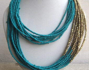 Turquoise Necklace with Gold Beads/Blue Necklace/Bohemian Necklace/Statement Necklace/Bib Necklace/Beaded Jewelry
