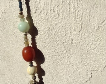 Animist jewelry, jewelry designed for you, asymmetrical necklace , antique beads, Now jewellery !