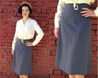 Vintage 1940s Skirt | Slate Blue Skirt with Side Kick Pleats | Medium