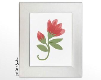 Pink Flower Vine Printable Wall Art - Hand Drawn Digital Artwork - Floral Nature Themed Nursery Decor Home Decor