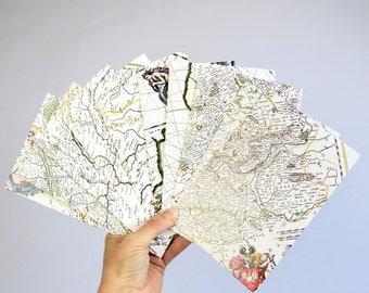 Set of 10 world map envelopes, wedding invitation, greeting card, Joan Blaeu reproduction
