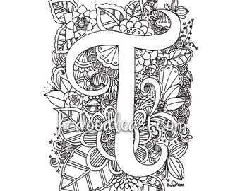 instant digital download adult coloring page letter t