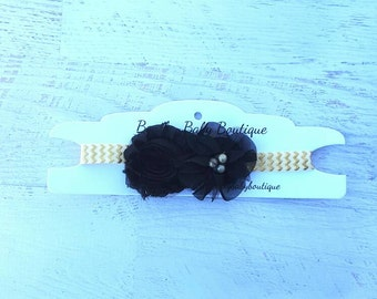 Black and gold flower headband