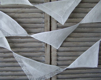 White vintage handkerchief bunting 4.7m (16 feet), mantle or room decoration, eco friendly