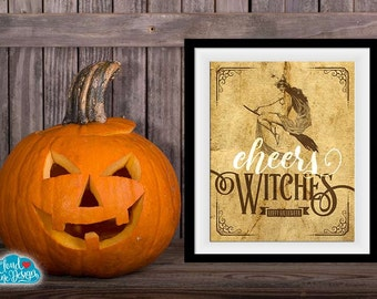 Cheers Witches Halloween Printable Sign - Halloween Party Decorations - Vintage Halloween - Witch