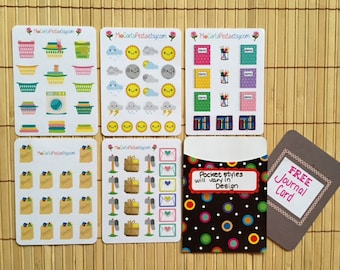 MP01 - Pack A - StickiPockets Mini Sheet Planner Stickers