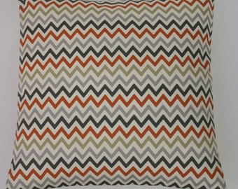 "Zig Zag Amber Orange Charcoal & Grey 16"" / 40cm Geometric Chevron Cushion Cover"