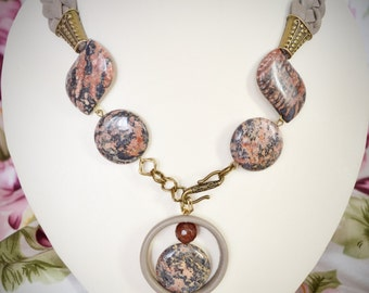 Necklace From Genuine Leather and Jasper | Female Amulet