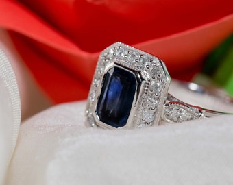 Diamond sapphire engagement ring /blue sapphire ring /vintage engagement ring