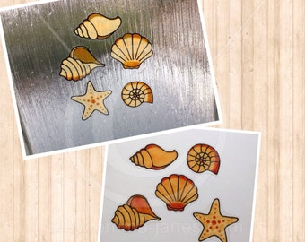 Seashell starfish shell window cling set, hand painted decals for glass & mirror areas, reusable faux stained glass effect sea shells