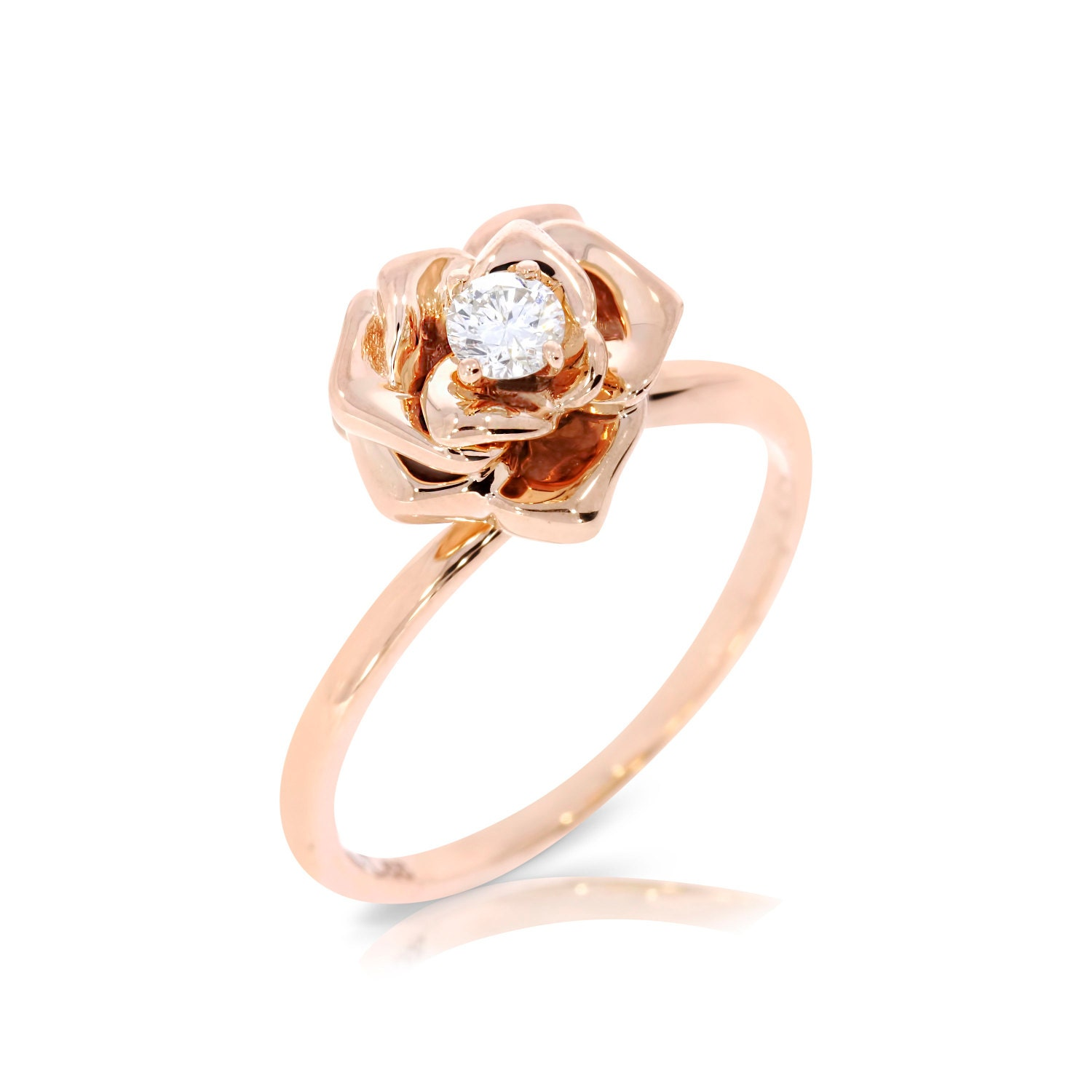 Diamond Engagement Ring Flower Engagement Ring Rose by ybsoulj