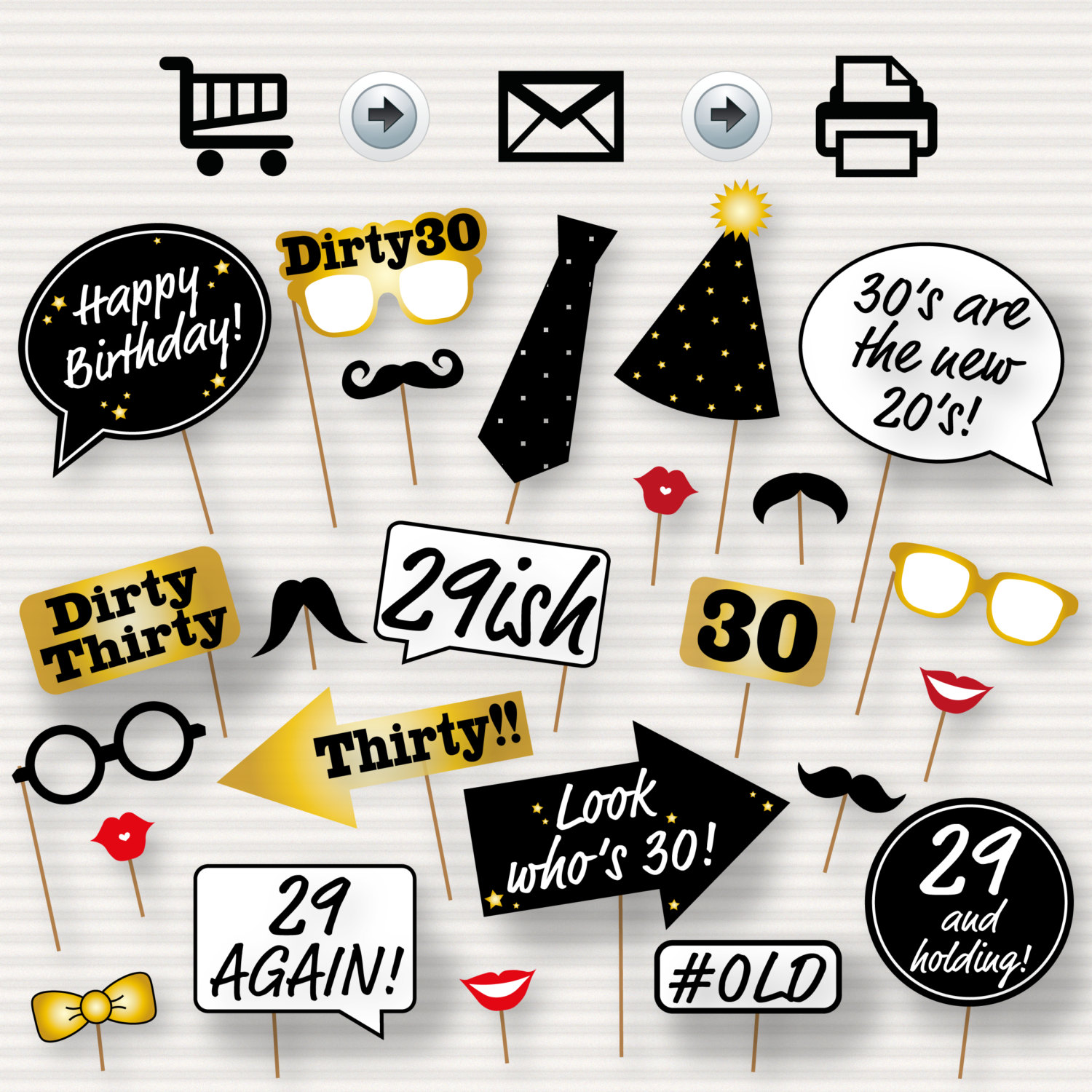 30th Birthday Party Printable Photo Booth Props Glasses