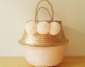 pom pom gold white seagrass belly basket panier boule storage. Black Bedroom Furniture Sets. Home Design Ideas