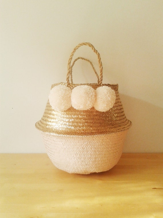 Metallic Gold and Salmon Pink Cream Pom Poms Sea Grass Belly Basket Panier Boule Storage Nursery Beach Picnic Toy Laundry