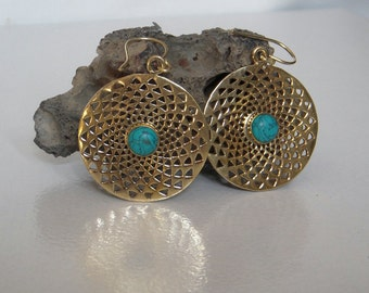 A Brass Tribal Dangle Earring / Turquoise Stone Dangle Earring / Handmade Dangle Earring / Brass Dangle Earring  / One Pair.