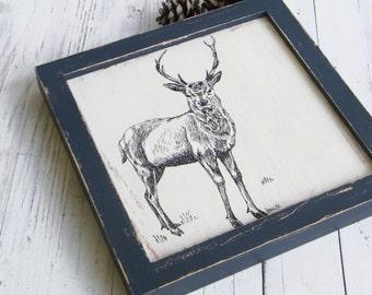 Deer Decor, Framed Picture, Deer Print, Wood Wall Art, Woodland Nursery, Dorm Decor, Rustic Wood Signs, Kids Room Decor, Gift For Kids