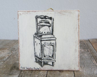 Miniature painting, Antique oil lamp print, print on wood, Rustic lantern, Kitchen decor, Hipster wall decor, Shabby chic, Christmas gifts