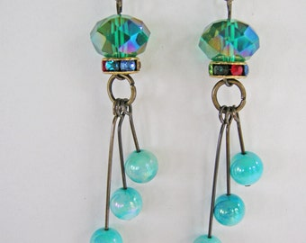 Earrings blue and gold antique
