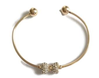 Beautiful Gold Bow Cuff Bracelet