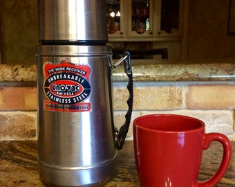 Vintage UNO-VAC Unbreakable Stainless Steel Thermos 1 Quart with Handle