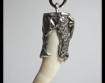 A.1. Sterling Silver Alligator Tooth Pendant - Alligator Head Design