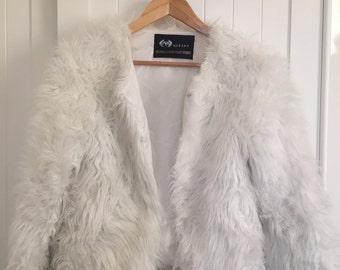 White fluffy cropped jacket