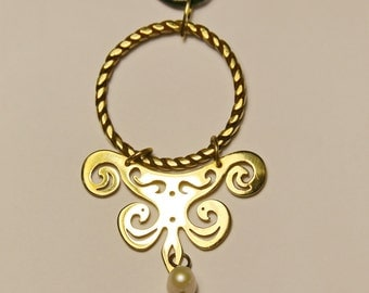 Baroque Pendant Brass Pendant with Pearl
