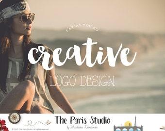 Watercolor Floral Antler Logo Pay As You Go Custom Logo Design Website Logo Blog Logo Business Branding Logo Boutique Logo Deer Floral Logo