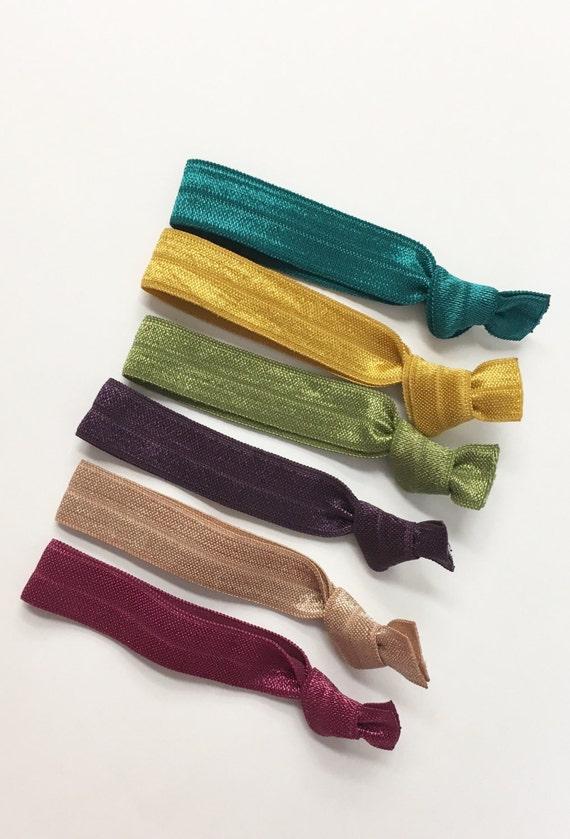 All Fall hair tie set//elastic hair ties, hair tie favors, hair tie bracelet, ponytail holder, bridesmaid gift, hair accessories