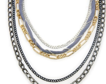 Edgy Rocker Layered Look Necklace