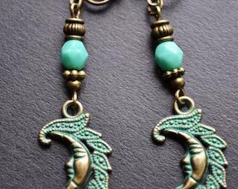 Moon crescent clip on earrings, boho bohemian earrings, dangle green earrings
