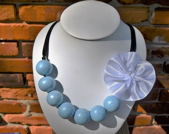 Light Blue edible gumball necklace, Alice in Wonderland Gumball Necklace, blue and black gumball necklace